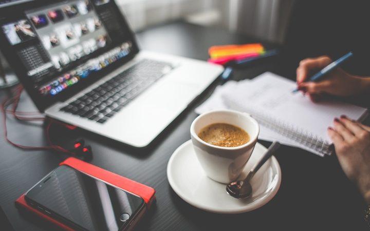 Writing in a coffeeshop